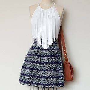 Sculpted Blue Mini Skirt